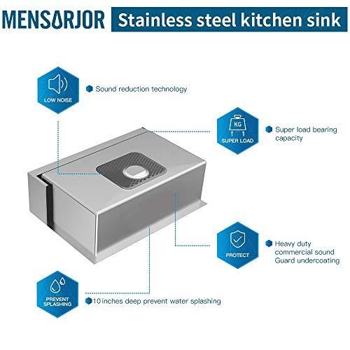 MENSARJOR 30 X 20 Inches Apron Farmhouse Single Bowl 16 Gauge Stainless Steel Kitchen Sink 30 X 20 X 10 0 4