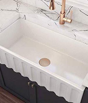 MOCCOA 33 Brescia Authentic Fireclay Apron Front Farmhouse Single Bowl Sink White 0 300x350