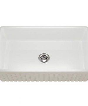 MR Direct 414 Fireclay Single Bowl Farmhouse Kitchen Sink White 0 0 300x360