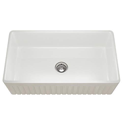MR Direct 414 Fireclay Single Bowl Farmhouse Kitchen Sink White 0 0
