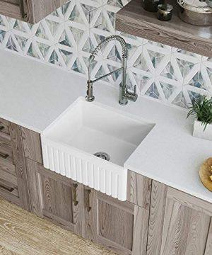 MR Direct 414 Fireclay Single Bowl Farmhouse Kitchen Sink White 0 300x360