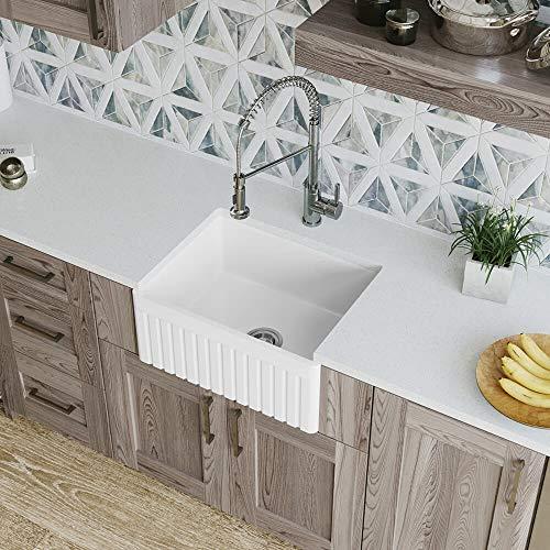 MR Direct 414 Fireclay Single Bowl Farmhouse Kitchen Sink White 0
