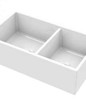 MSFC6040PLN 33 In 6040 Double Bowl Fireclay Apron Front Farmhouse Kitchen Sink 0 300x360