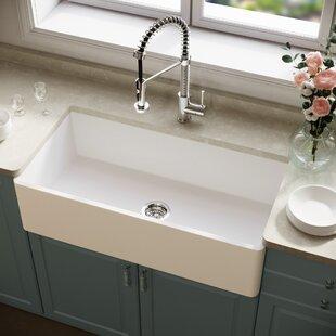 Mattestone+Composite+36+L+x+18+W+Farmhouse+Kitchen+Sink+with+Basket+Strainer
