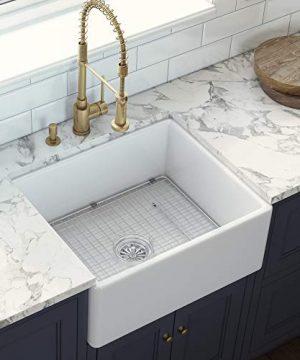 Ruvati 23 X 18 Inch Fireclay Farmhouse Apron Front Kitchen Laundry Sink Single Bowl White RVL2468WH 0 0 300x360