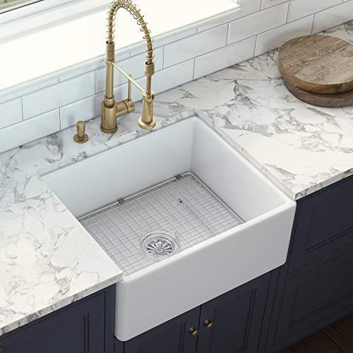 Ruvati 23 X 18 Inch Fireclay Farmhouse Apron Front Kitchen Laundry Sink Single Bowl White RVL2468WH 0 0