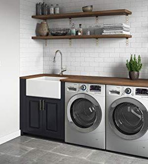 Ruvati 23 X 18 Inch Fireclay Farmhouse Apron Front Kitchen Laundry Sink Single Bowl White RVL2468WH 0 1 300x333