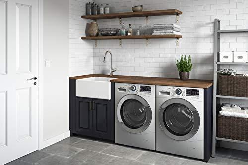 Ruvati 23 X 18 Inch Fireclay Farmhouse Apron Front Kitchen Laundry Sink Single Bowl White RVL2468WH 0 1