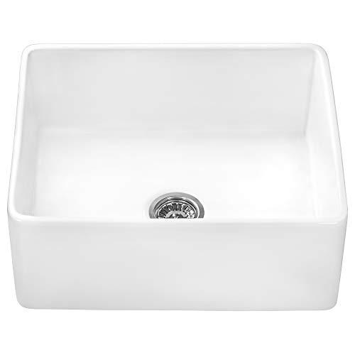 Ruvati 23 X 18 Inch Fireclay Farmhouse Apron Front Kitchen Laundry Sink Single Bowl White RVL2468WH 0 2