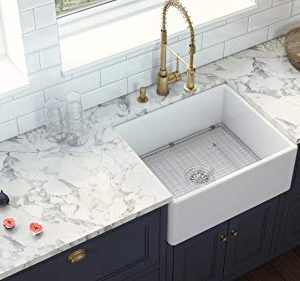 Ruvati 23 X 18 Inch Fireclay Farmhouse Apron Front Kitchen Laundry Sink Single Bowl White RVL2468WH 0 3 300x281