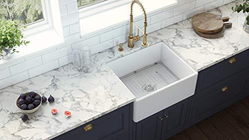 Ruvati 23 X 18 Inch Fireclay Farmhouse Apron Front Kitchen Laundry Sink Single Bowl White RVL2468WH 0 3