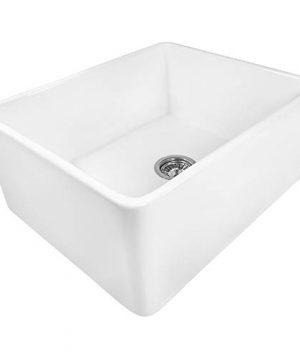 Ruvati 23 X 18 Inch Fireclay Farmhouse Apron Front Kitchen Laundry Sink Single Bowl White RVL2468WH 0 300x360