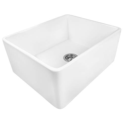 Ruvati 23 X 18 Inch Fireclay Farmhouse Apron Front Kitchen Laundry Sink Single Bowl White RVL2468WH 0