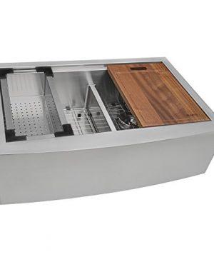 Ruvati RVH9301 Apron Front 16 Gauge 36 Kitchen Double Bowl Sink Stainless Steel 0 300x360