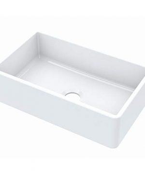 Sinkology SK404 30FC Turner Farmhouse 30 In Single Bowl Crisp White Fireclay Kitchen Sink 0 300x360