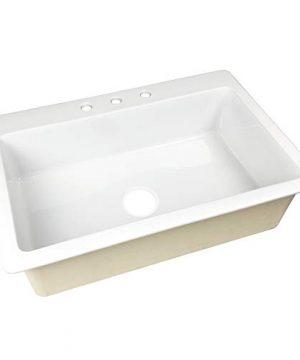 Sinkology SK411 33FC B IQ Jackson Drop 33 In 3 Hole Single Bowl Crisp White Fireclay Kitchen Sink 0 300x360