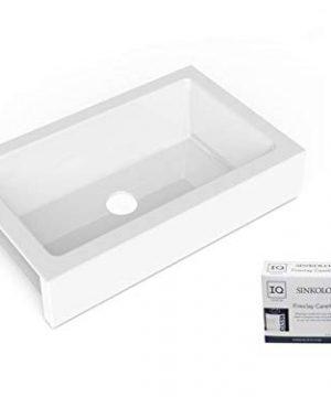 Sinkology SK451 34FC AMZ Grace QuickFit Undermount Farmhouse 3385 Single Bowl Crisp White With Care IQ Kit Fireclay Kitchen Sink 0 300x360