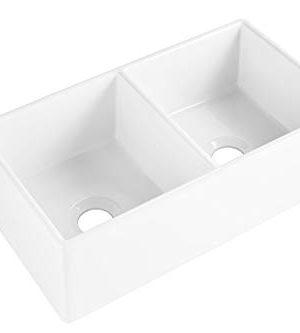 Sinkology SK496 33FC AMZ Brooks II 33 In 5050 Double Bowl Farmhouse Fireclay Kitchen Sink Crisp White 0 0 300x333