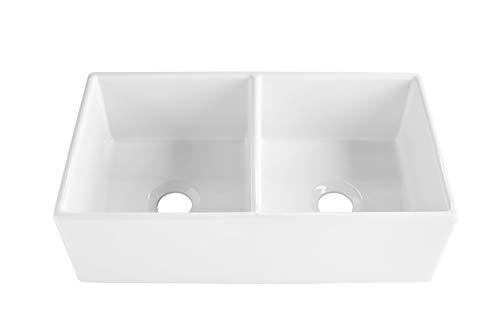 Sinkology SK496 33FC AMZ Brooks II 33 In 5050 Double Bowl Farmhouse Fireclay Kitchen Sink Crisp White 0 1