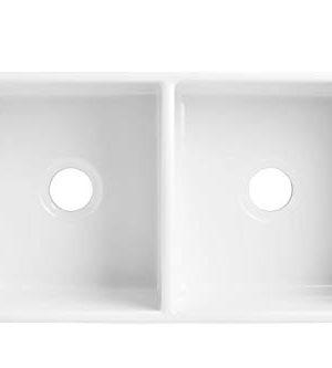 Sinkology SK496 33FC AMZ Brooks II 33 In 5050 Double Bowl Farmhouse Fireclay Kitchen Sink Crisp White 0 2 300x333