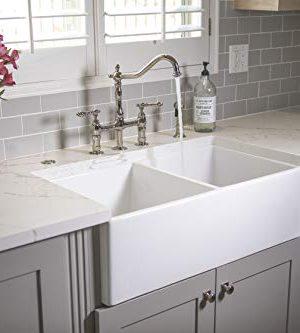 Sinkology SK496 33FC AMZ Brooks II 33 In 5050 Double Bowl Farmhouse Fireclay Kitchen Sink Crisp White 0 4 300x333
