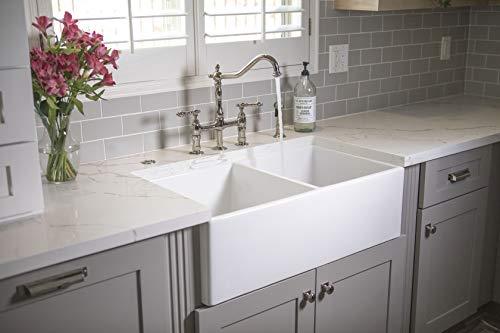 Sinkology SK496 33FC AMZ Brooks II 33 In 5050 Double Bowl Farmhouse Fireclay Kitchen Sink Crisp White 0 4
