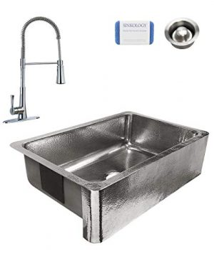Sinkology SK701 33P MCCD AMZ Percy All In One Farmhouse Apron Front 32 In Single Bowl In Polished Finish With Pfister Zuri Faucet And Disposal Drain Crafted Stainless Steel Kitchen Sink 0 300x360