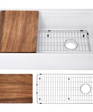 Soleil SSFC36LDGWT 36 In X 19 In Fireclay Ledge Single Bowl Apron Front Farmhouse Kitchen Sink With Walnut Wood Cutting Board 0 300x360