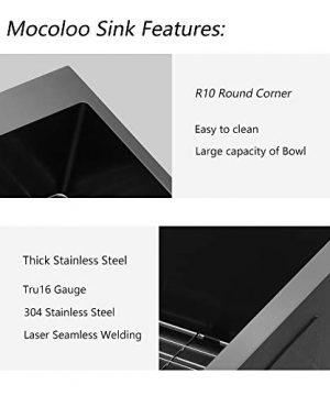 Stainless Steel Farmhouse Sink Mocoloo 36 Inch Kitchen Sink Apron Front 16 Gauge Gunmetal Black Stainless Steel Single Bowl Kitchen Farm Sink 0 3 300x360