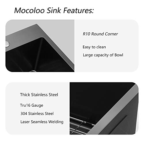 Stainless Steel Farmhouse Sink Mocoloo 36 Inch Kitchen Sink Apron Front 16 Gauge Gunmetal Black Stainless Steel Single Bowl Kitchen Farm Sink 0 3