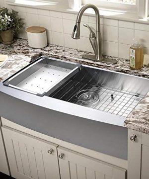 Starstar Farmhouse Apron Front 16 Gauge 33 Kitchen Single Bowl Sink Stainless Steel With Colander Grid 0 300x360