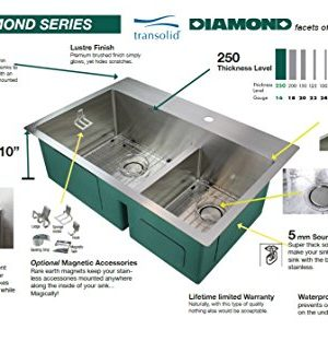 Transolid DUSSF302210 Diamond Apron Front Single Bowl 16 Gauge Stainless Steel Kitchen Sink 30 In X 22 In X 10 In Brushed Finish 0 0 300x323
