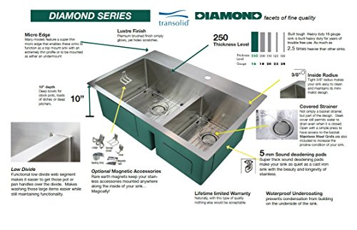 Transolid DUSSF302210 Diamond Apron Front Single Bowl 16 Gauge Stainless Steel Kitchen Sink 30 In X 22 In X 10 In Brushed Finish 0 0