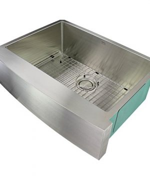 Transolid DUSSF302210 Diamond Apron Front Single Bowl 16 Gauge Stainless Steel Kitchen Sink 30 In X 22 In X 10 In Brushed Finish 0 300x360