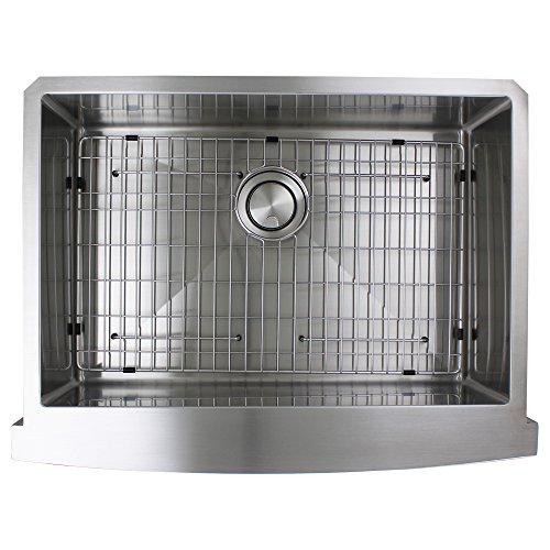 Transolid DUSSF302210 Diamond Apron Front Single Bowl 16 Gauge Stainless Steel Kitchen Sink 30 In X 22 In X 10 In Brushed Finish 0 4