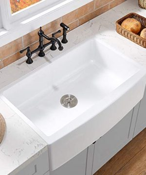VAPSINT 33 Inch Procelain Apron Front Fireclay White Farmhouse Sink Single Bowl Undermount Ceramic Farm Kitchen Sink With Grid And Strainer 0 300x360