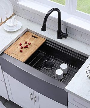 VESLA HOME 33 X 22 Single Bowl Stainless Steel Black Farmhouse Sink Drop In Apron Front Farmhouse Kitchen Sink Workstation With Accessories 0 300x360