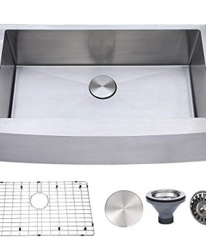 VESLA HOME 33x20 Inch 18 Gauge Apron Front Single Bowl Stainless Steel Farmhouse Kitchen Sink10 Inch Deep Farm Sink Handmade Brushed Nickel Kitchen Sinks With Integrated Ledge And Drain 0 300x360