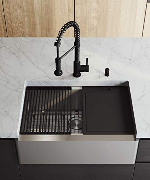 VIGO VG15906 205 L 300 W 185 H Stainless Steel Single Bowl Flat Apron Front Farmhouse Kitchen Sink Set With Matte Black Faucet Soap Dispenser Cutting Board Grid And Strainer 0 300x360