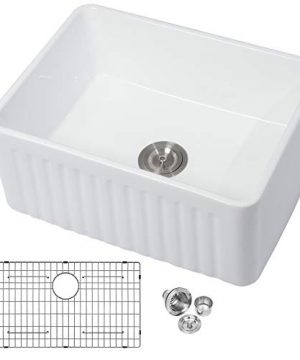 White Farmhouse Kitchen Sink Mocoloo 24x18x10 Inch Undermount Flat Apron Front Fireclay Single Bowl Farm Sink With Protective Stainless Gird And Strainer 10 Deep Basin With Offset Drain 0 300x360