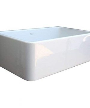 Whitehaus WH3018 WHITE Duet 30 Inch Reversible Fireclay Sink With Smooth Front Apron White 0 0 300x360