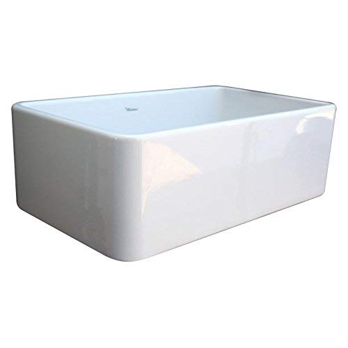 Whitehaus WH3018 WHITE Duet 30 Inch Reversible Fireclay Sink With Smooth Front Apron White 0 0