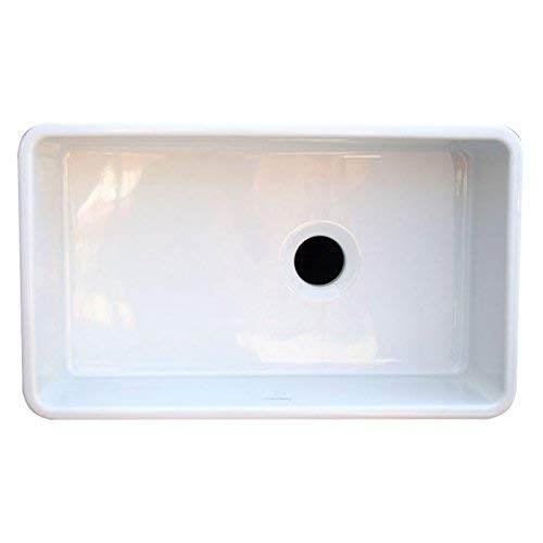 Whitehaus WH3018 WHITE Duet 30 Inch Reversible Fireclay Sink With Smooth Front Apron White 0 1