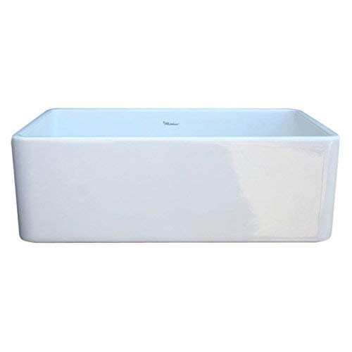 Whitehaus WH3018 WHITE Duet 30 Inch Reversible Fireclay Sink With Smooth Front Apron White 0 3