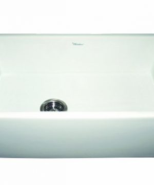 Whitehaus WH3018 WHITE Duet 30 Inch Reversible Fireclay Sink With Smooth Front Apron White 0 300x360