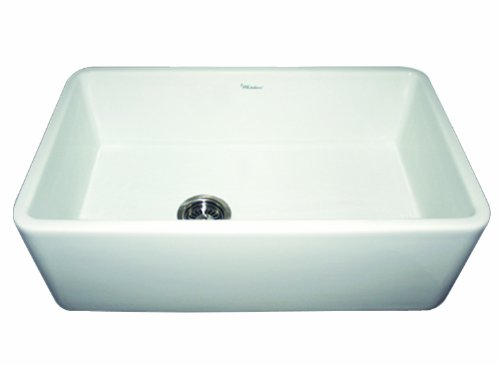 Whitehaus WH3018 WHITE Duet 30 Inch Reversible Fireclay Sink With Smooth Front Apron White 0