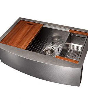 ZLINE 33 Moritz Farmhouse Apron Mount Single Bowl DuraSnow Stainless Steel Kitchen Sink With Bottom Grid And Accessories SLSAP 33S 0 300x360