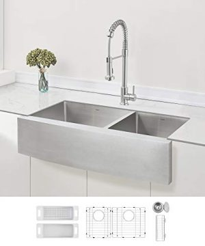 ZUHNE Stainless Steel Double Basin Farmhouse Sink 6040 36 Inch Curved Apron Front 0 300x360
