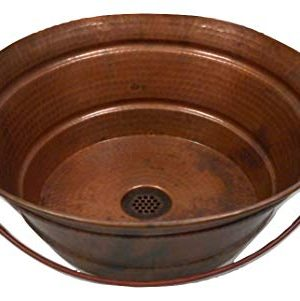 15 Round Copper Vessel BUCKET Bath Sink With A Natural Fire Patina And 19 Hole Grid Drain By SimplyCopper 0 300x301