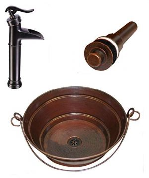 15 Round Copper Vessel BUCKET Sink With 13 Pump Faucet And Lift 0 300x360